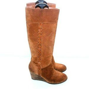 Lucky Brand Womens Camel Suede Mid Calf Wedge Boot